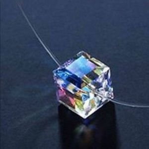 Jewelry - Rhinestone Swarovski crystal Cube Invisible choker